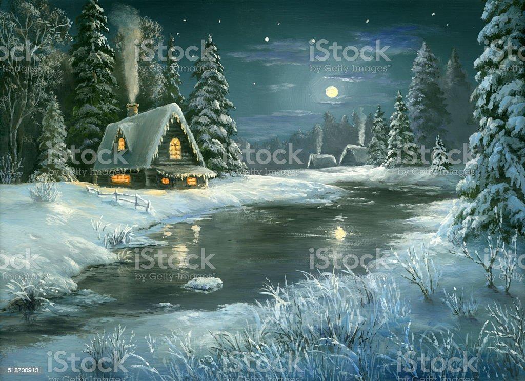 Christmas fairy tale night vector art illustration