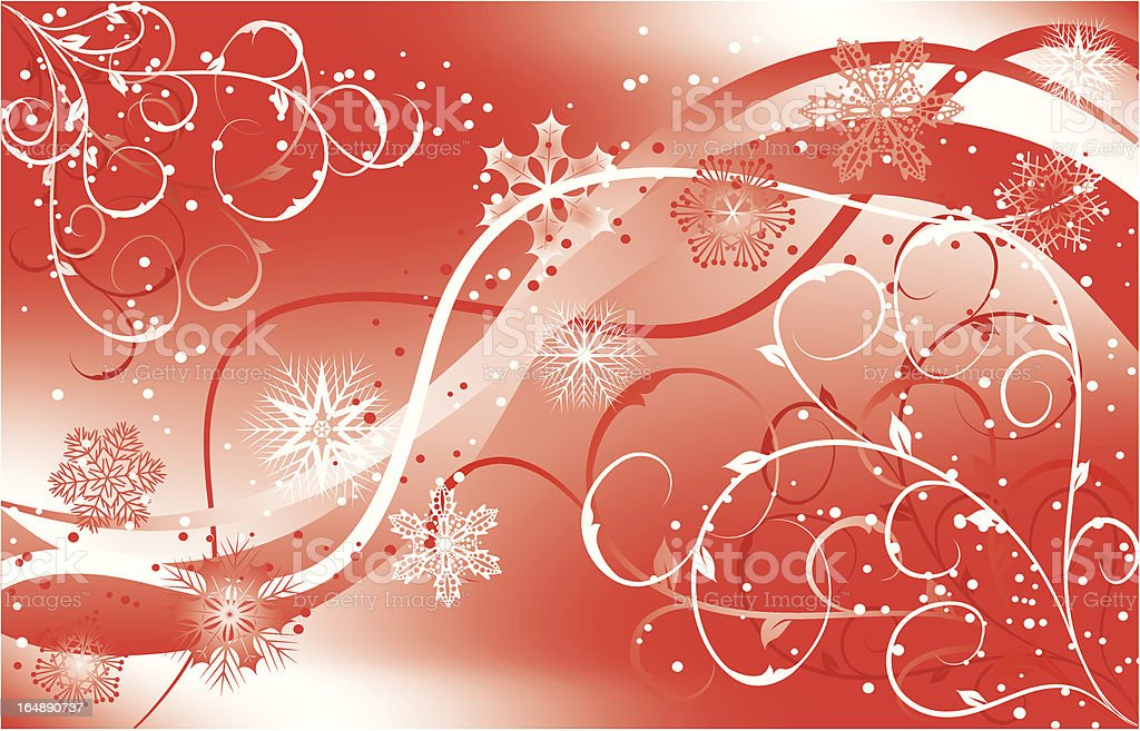 Christmas floral background with a snowflakes, vector royalty-free stock vector art
