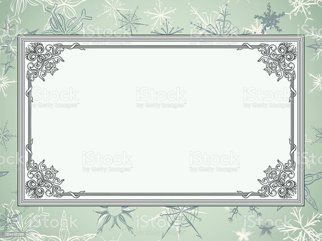 Christmas frame on seamless wallpaper with snowflakes royalty-free stock vector art