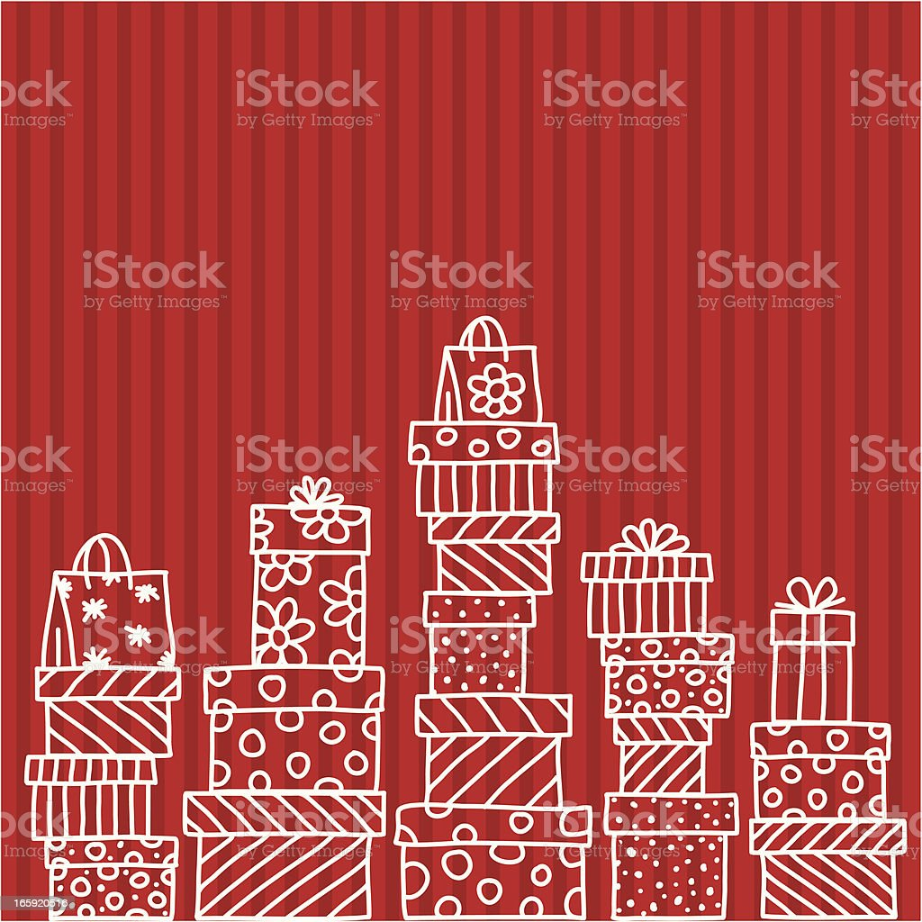 Christmas gift background vector art illustration