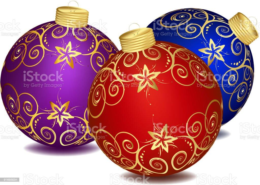 Christmas glass balls over white background royalty-free stock vector art