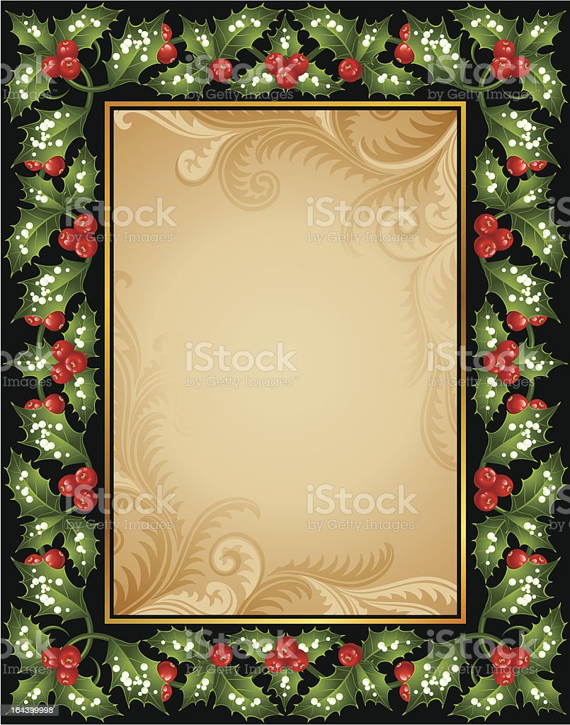 Christmas greeting card with holly royalty-free stock vector art