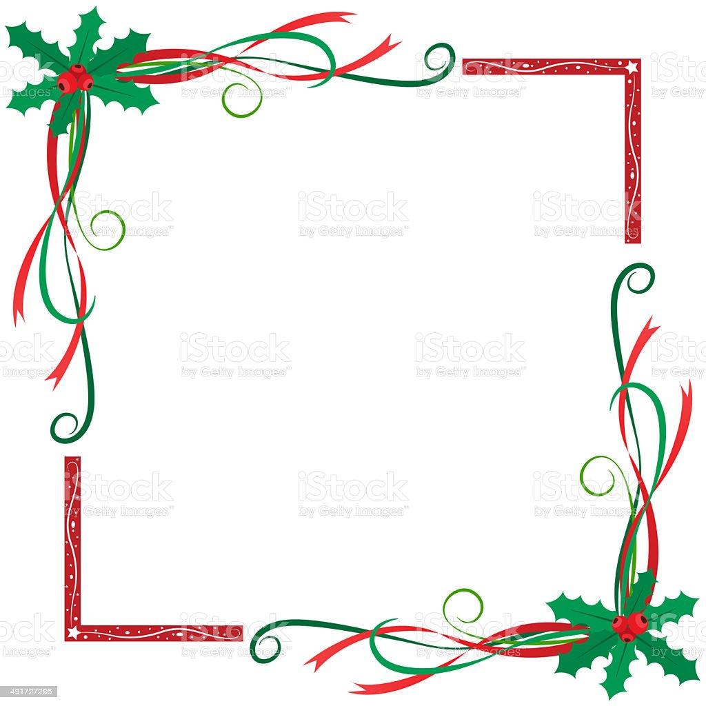 Christmas holly berries frame vector art illustration