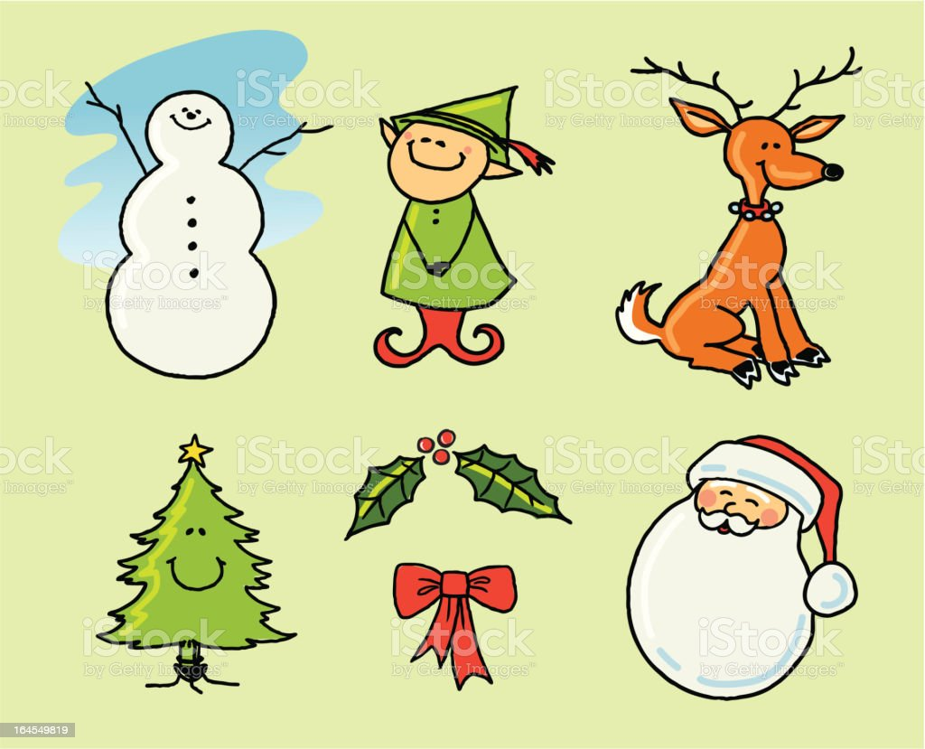 Christmas Icons in Color royalty-free stock vector art
