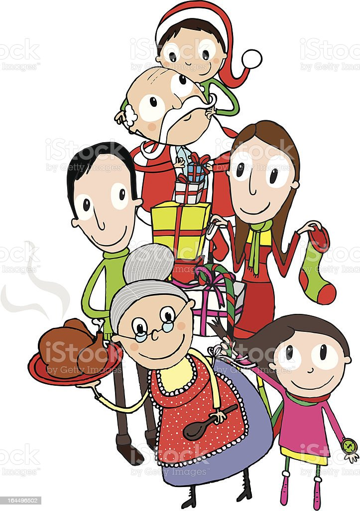 Christmas in family royalty-free stock vector art