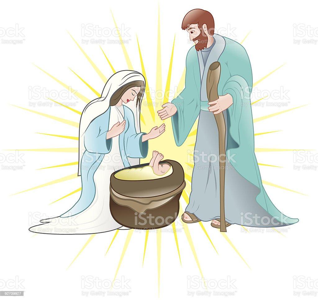 christmas-joseph y maria de jesus nacimiento - ilustración de arte vectorial