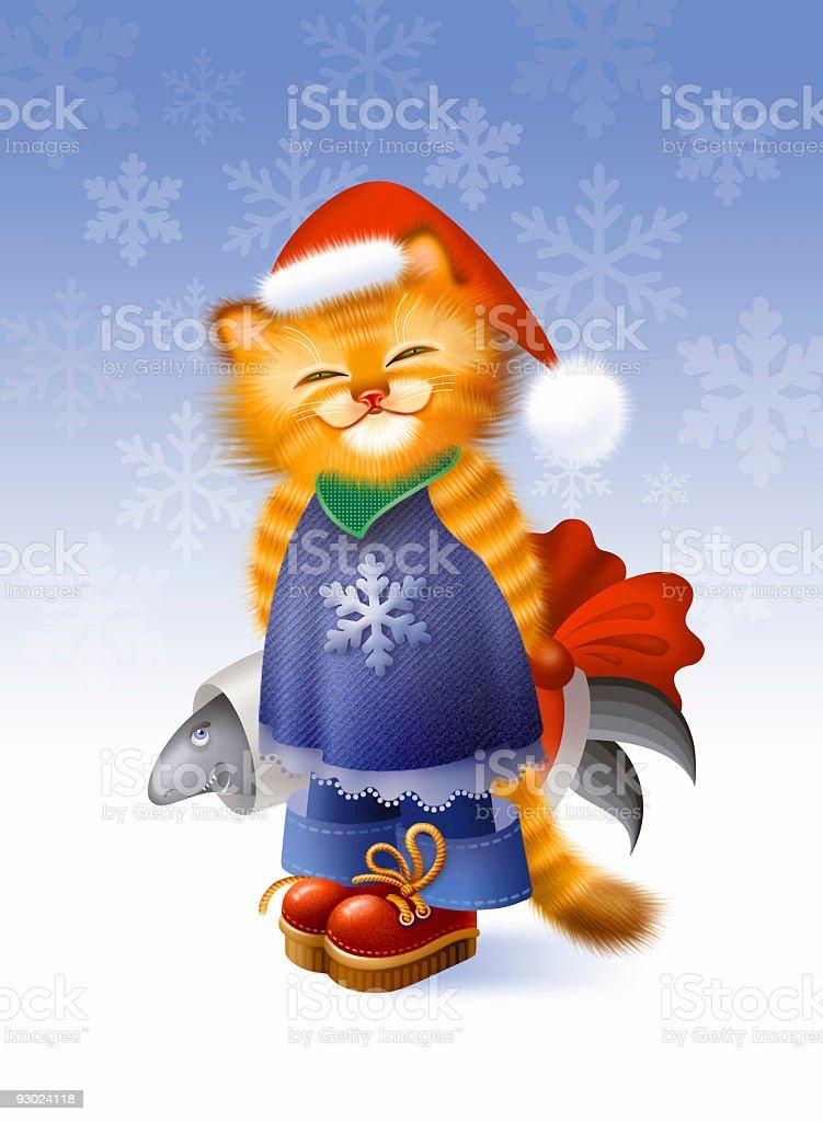 Christmas kitten vector art illustration