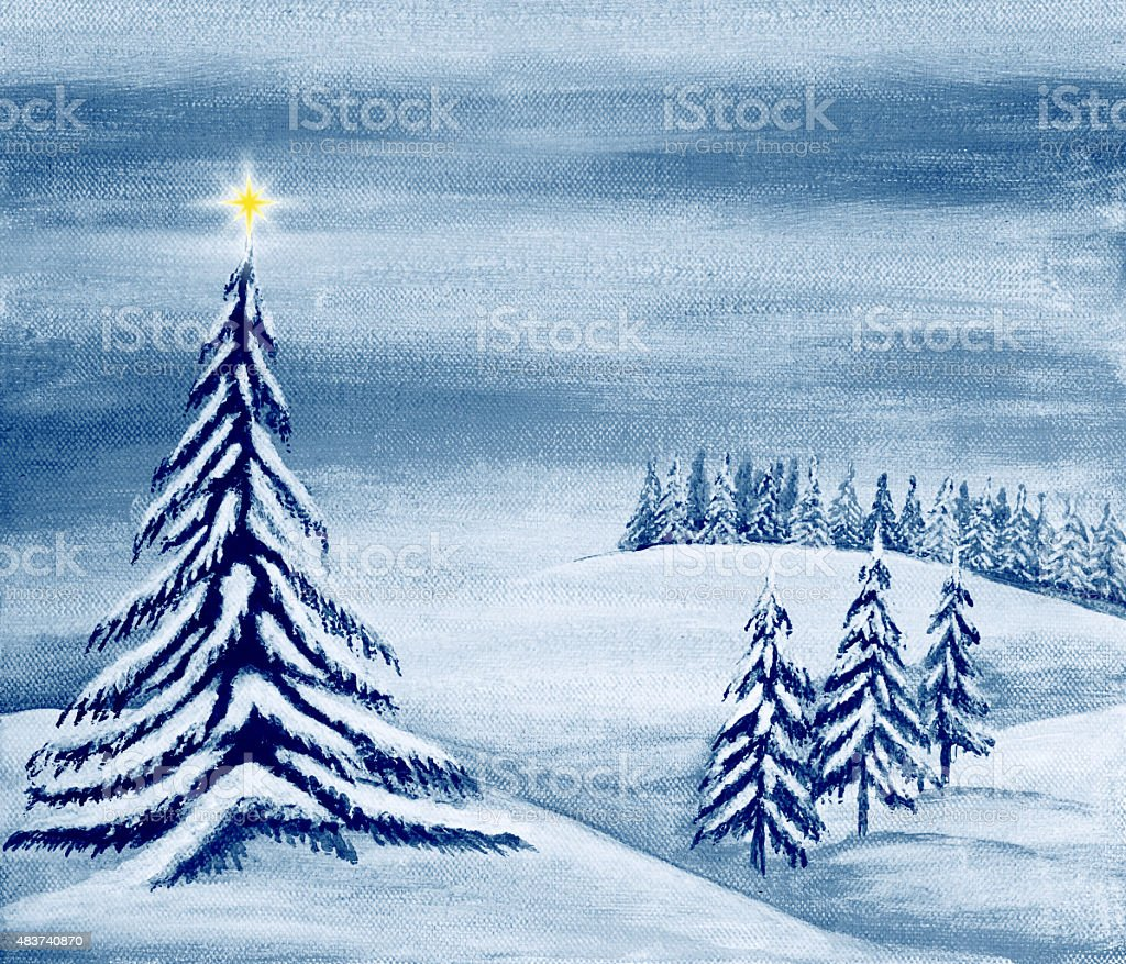 Christmas Landscape vector art illustration