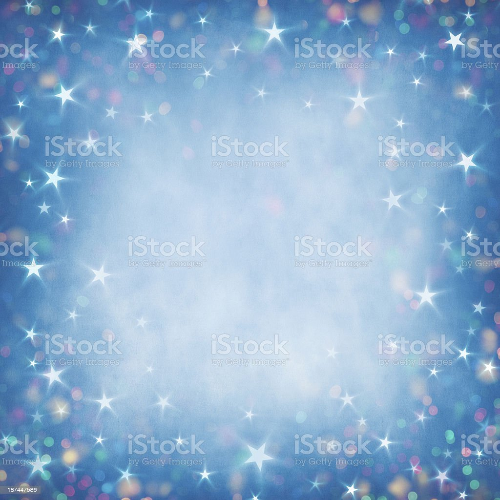 Christmas lights and stars background vector art illustration