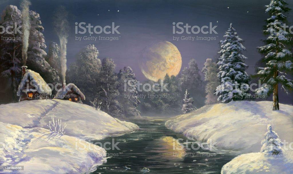 christmas moon vector art illustration