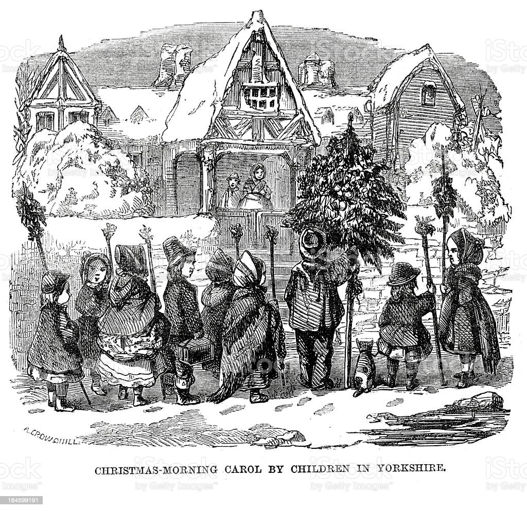 Christmas morning carol by chilrden in Yorkshire royalty-free stock vector art