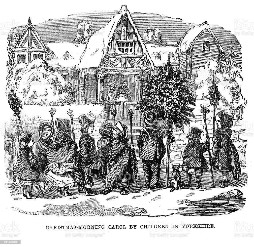 Christmas morning carol by chilrden in Yorkshire vector art illustration