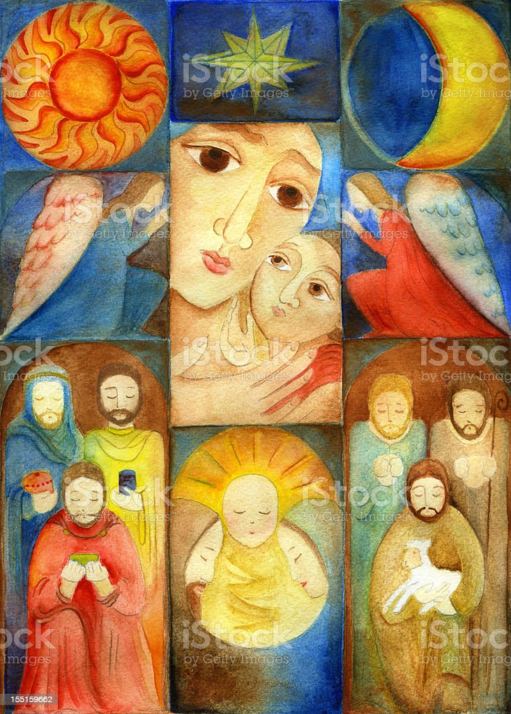 Christmas Nativity Collage vector art illustration