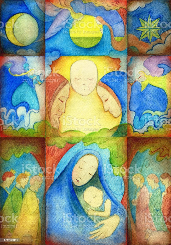 Christmas Nativity Collage royalty-free stock vector art