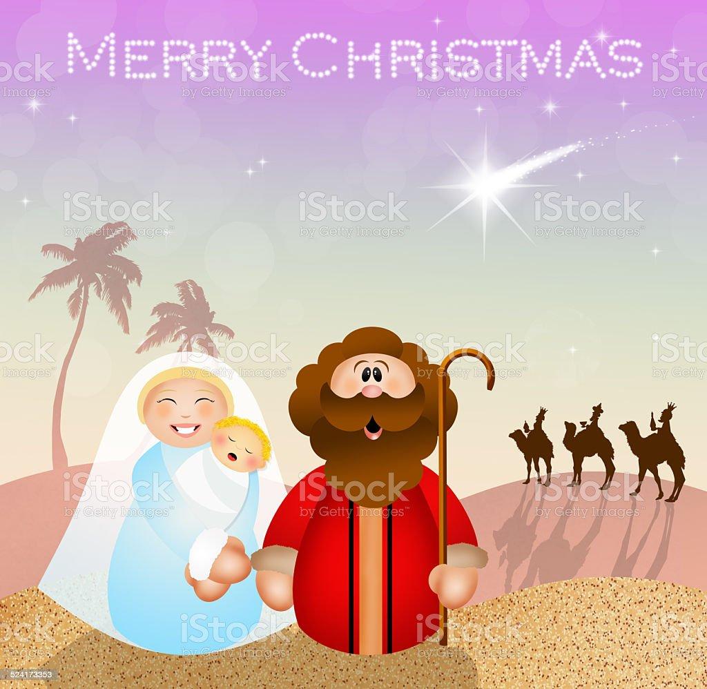 Christmas Nativity scene vector art illustration
