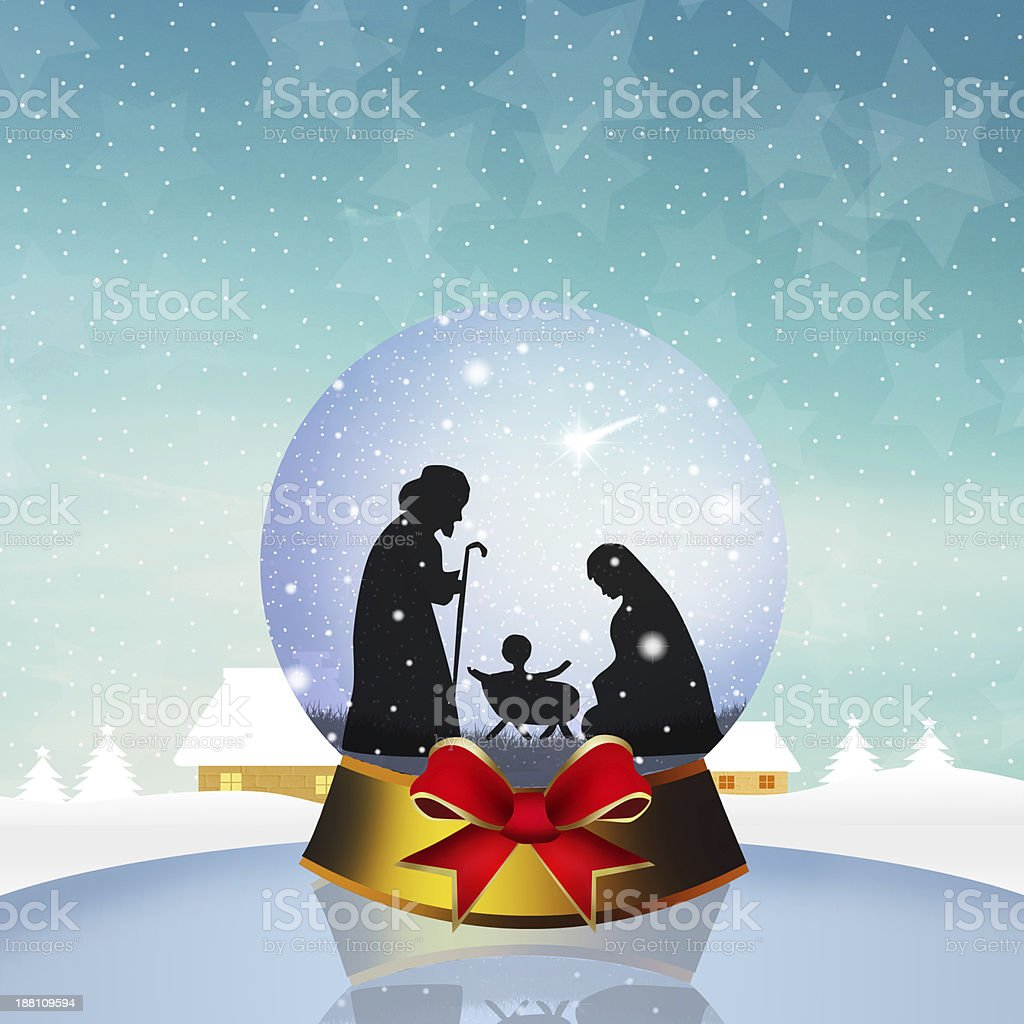 Christmas Nativity Scene in the crystal ball vector art illustration
