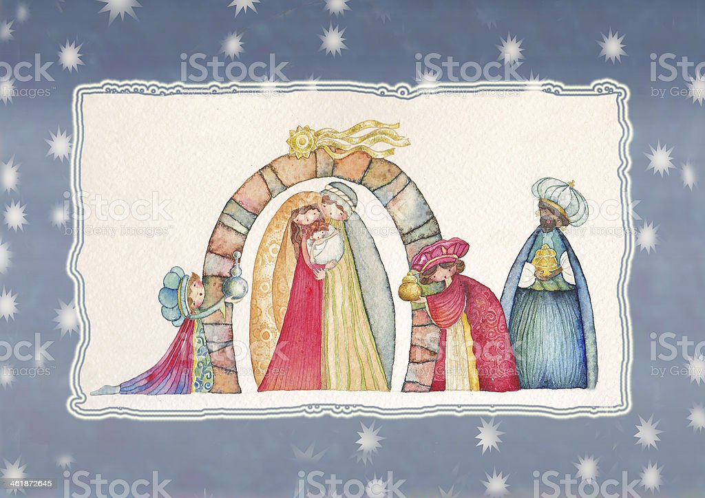 Christmas Nativity scene  Jesus, Mary, Joseph and the Three Kings royalty-free stock vector art