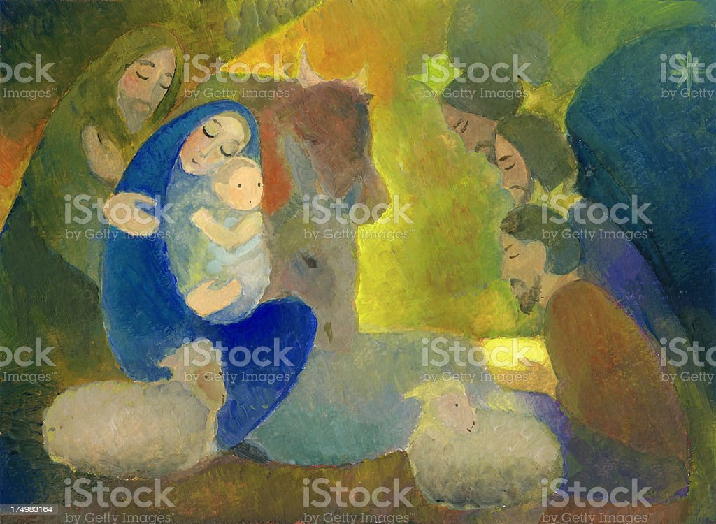 Christmas Nativity Scene with Wise Men royalty-free stock vector art