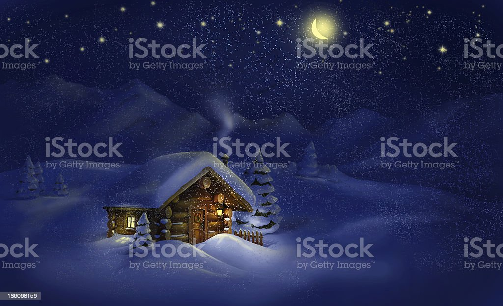 Christmas night landscape - hut, snow, pine trees vector art illustration
