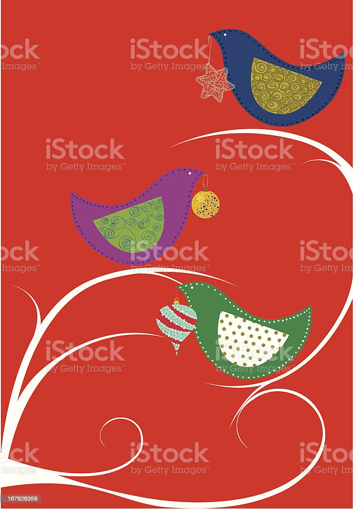 Christmas ornaments bird tree royalty-free stock vector art