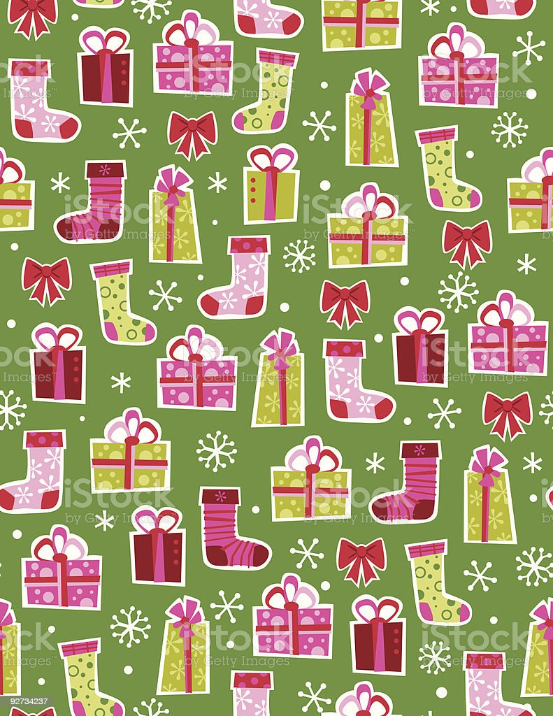 Christmas packages, stockings and snow in a seamless repeat royalty-free stock vector art