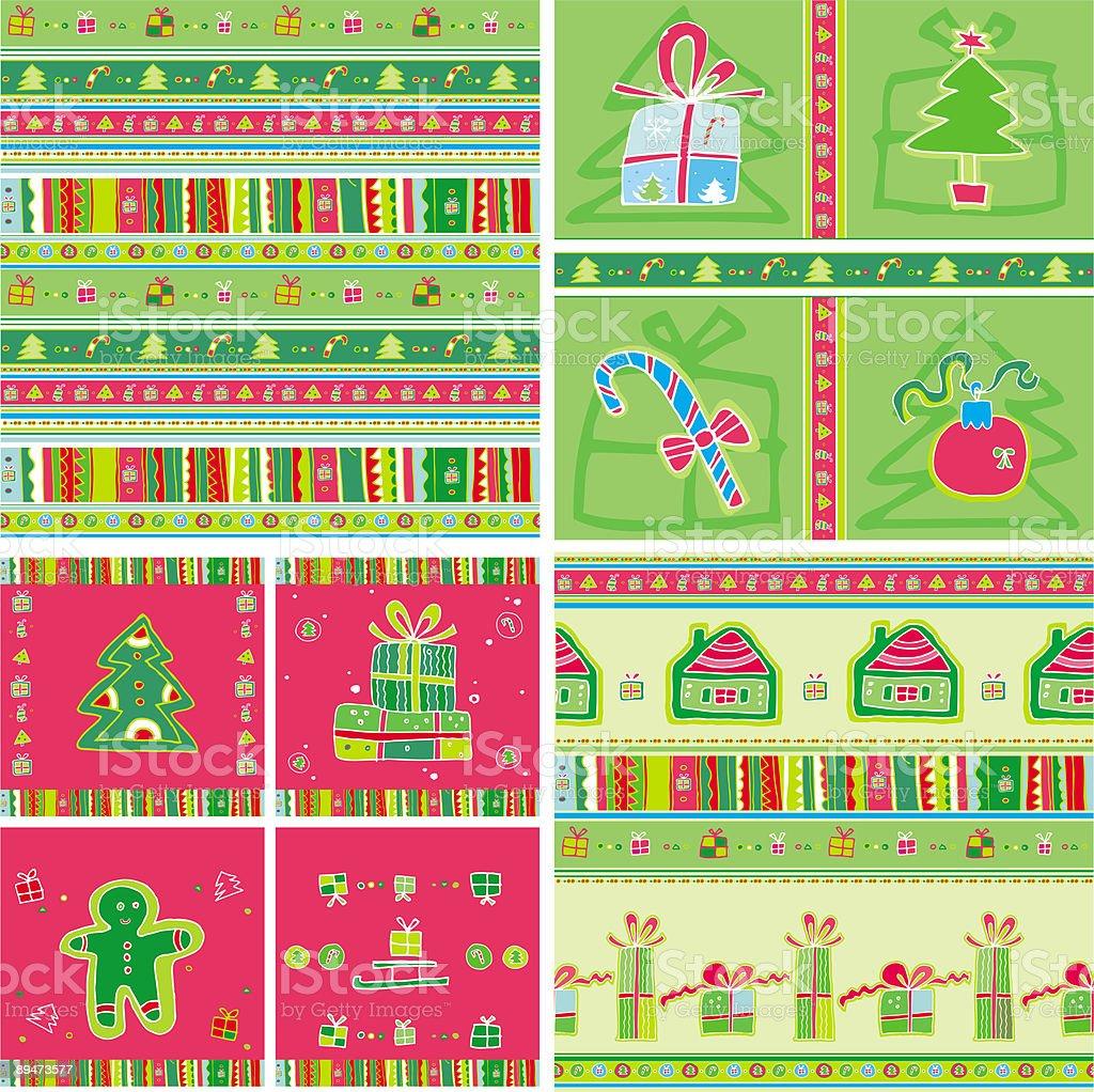Christmas pattern set - seamless tile royalty-free stock vector art