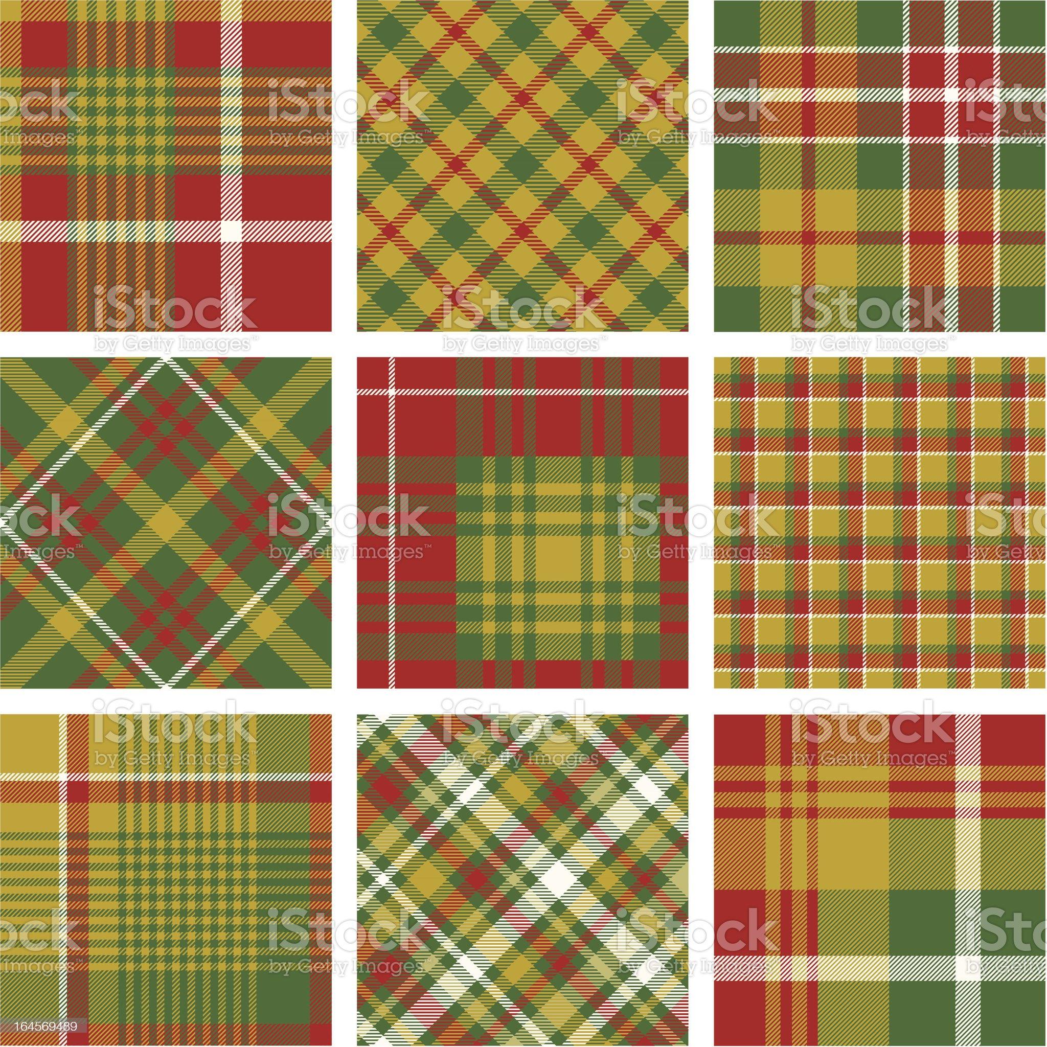 Christmas plaid patterns royalty-free stock vector art