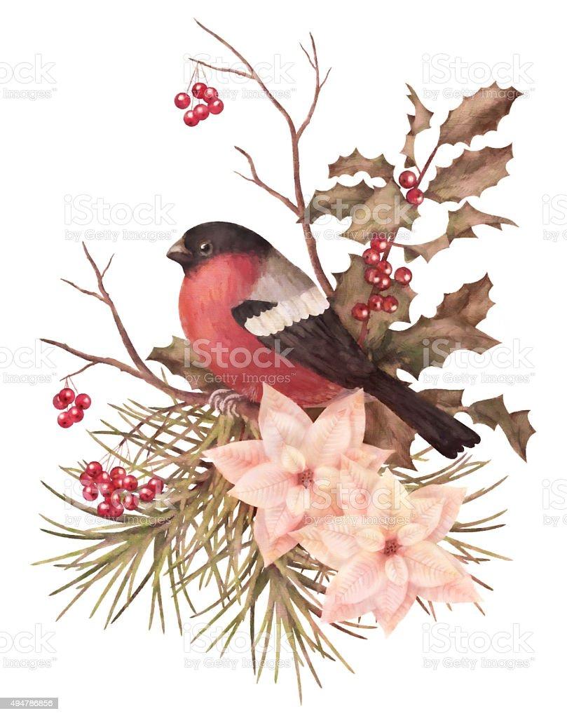 Christmas retro watercolor decorative composition vector art illustration