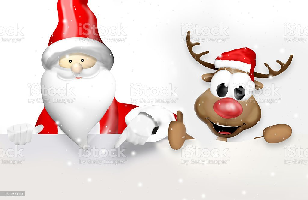 Christmas Santa Claus and Reindeer Happy vector art illustration