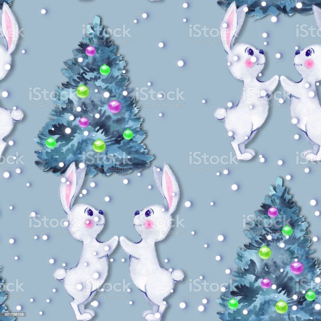 Christmas seamless pattern with bunny vector art illustration