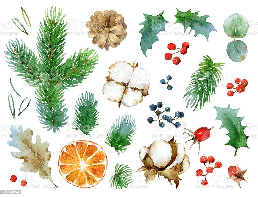 Christmas set of design elements vector art illustration