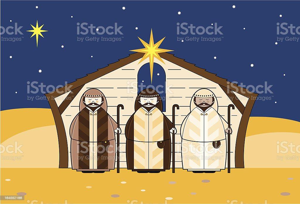 Christmas Shepherds in a Barn royalty-free stock vector art