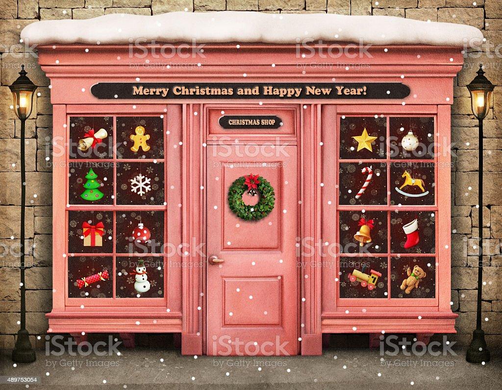 Christmas shop vector art illustration