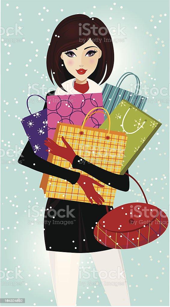 christmas shopping royalty-free stock vector art