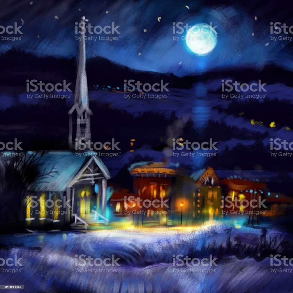 Christmas silent night royalty-free stock vector art