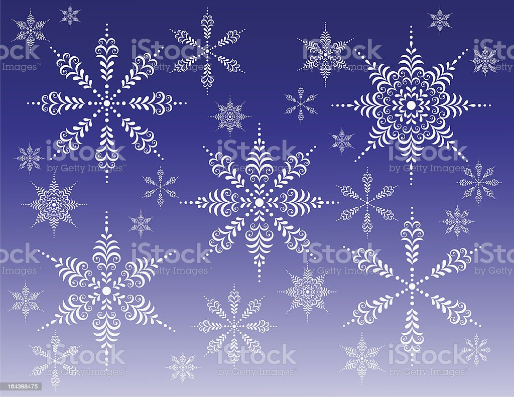 Christmas snowflakes vector art illustration