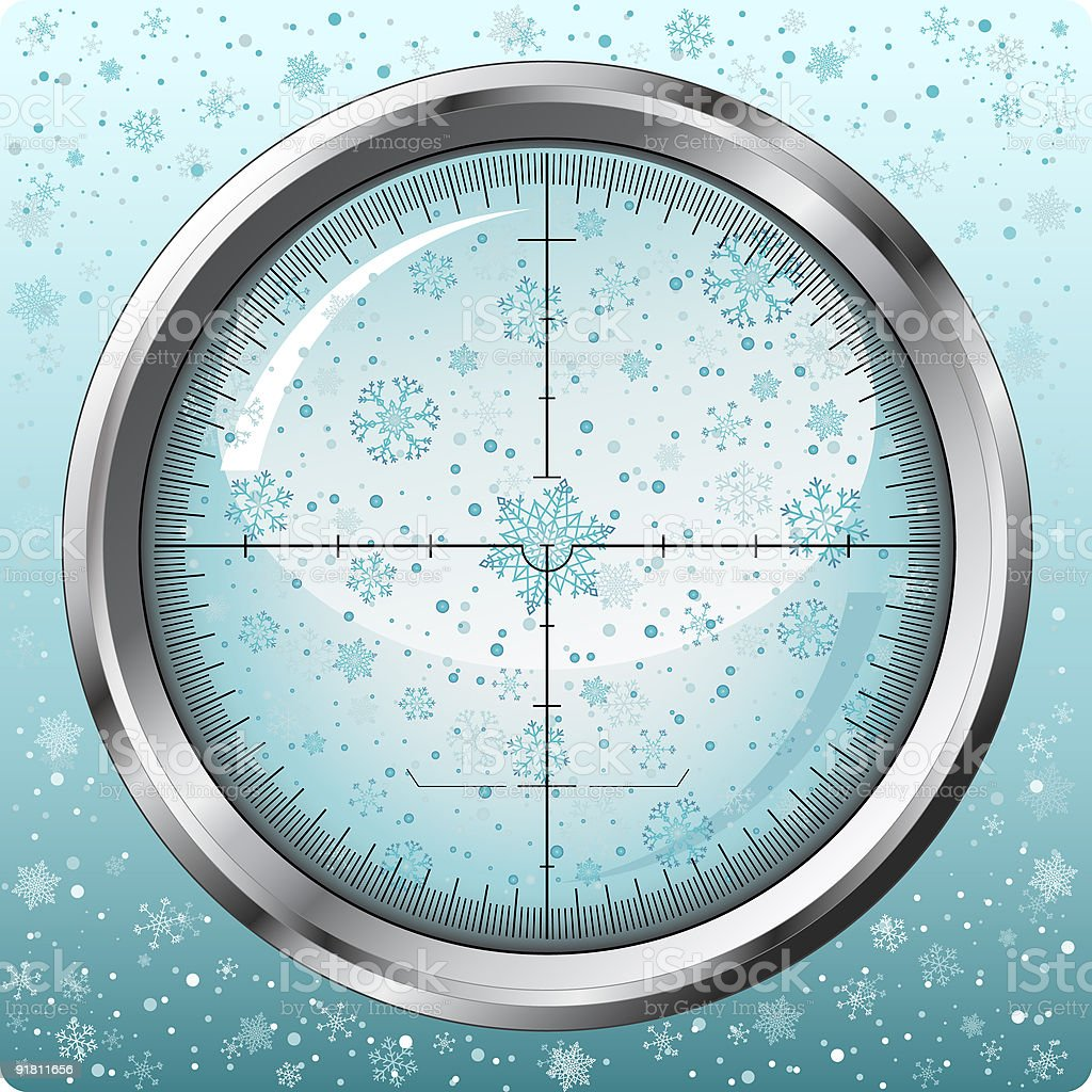 Christmas snowflakes in sniper sight royalty-free stock vector art