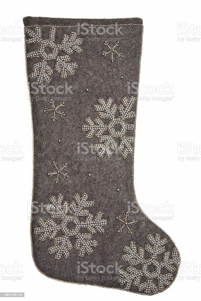Christmas sock - gray vector art illustration