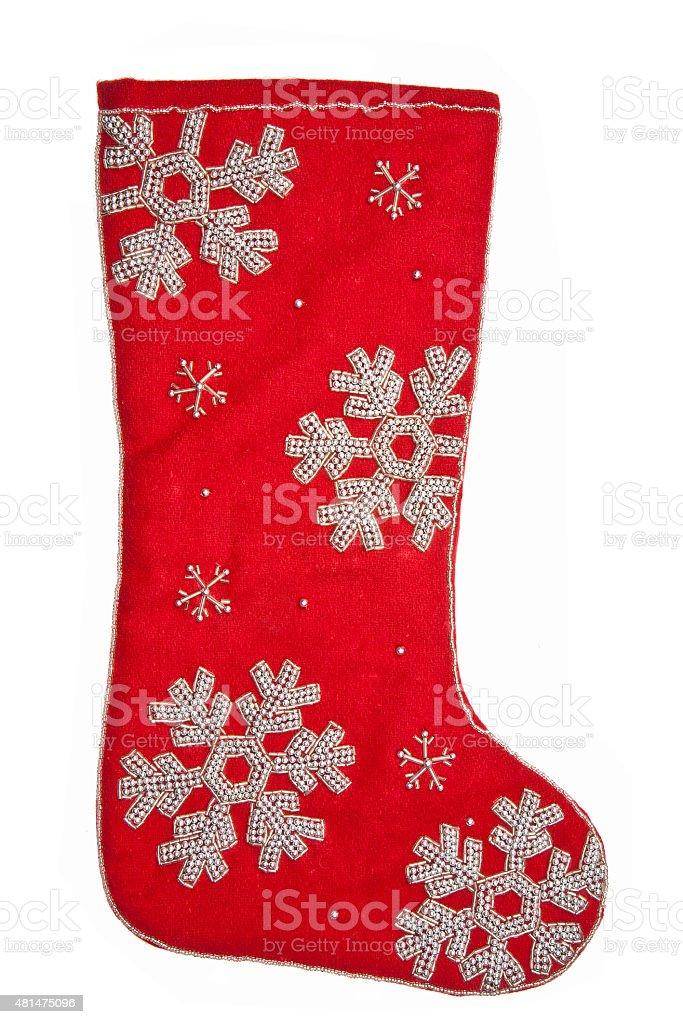 Christmas sock - red vector art illustration