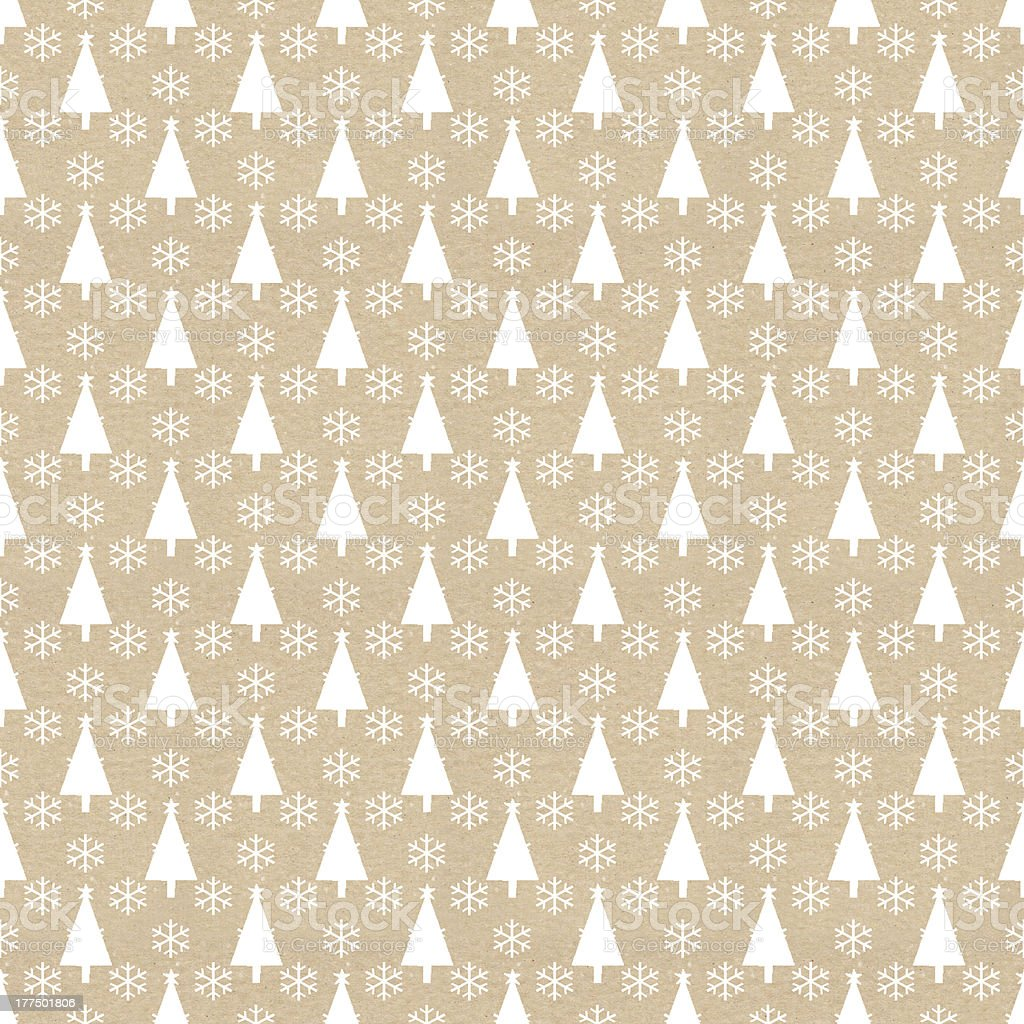 Christmas tree and snowflake patterned paper vector art illustration