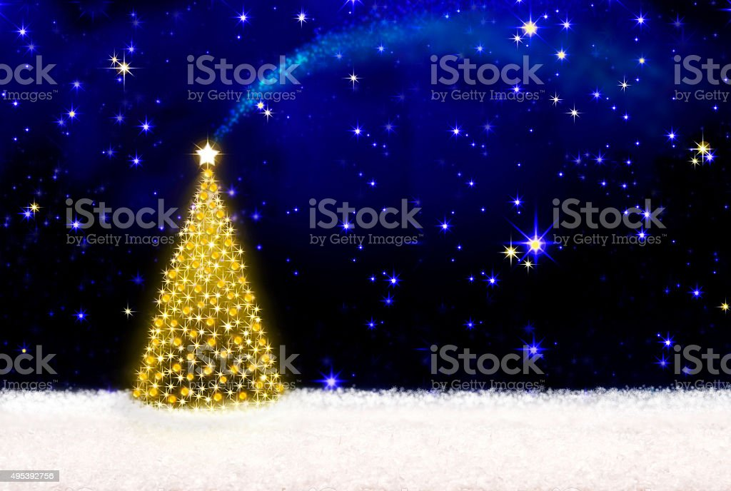 Christmas tree and starry sky. vector art illustration