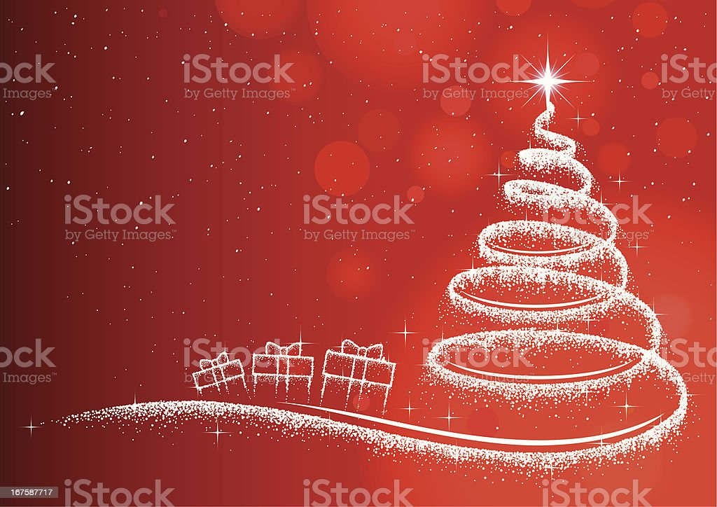 Christmas tree & gifts in glitter on red vector art illustration