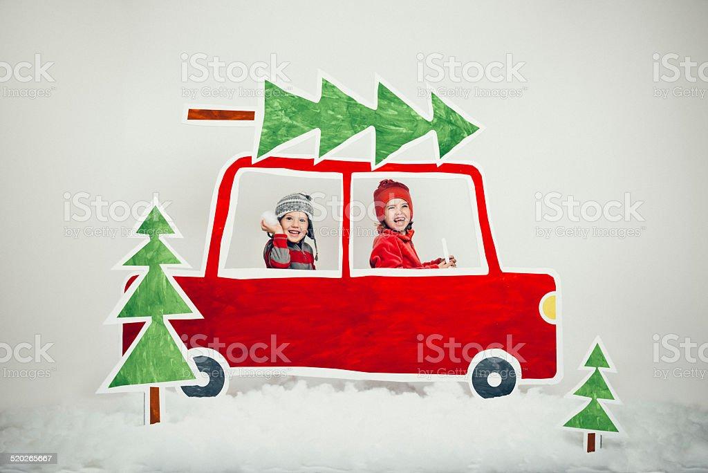Christmas Tree Lot vector art illustration