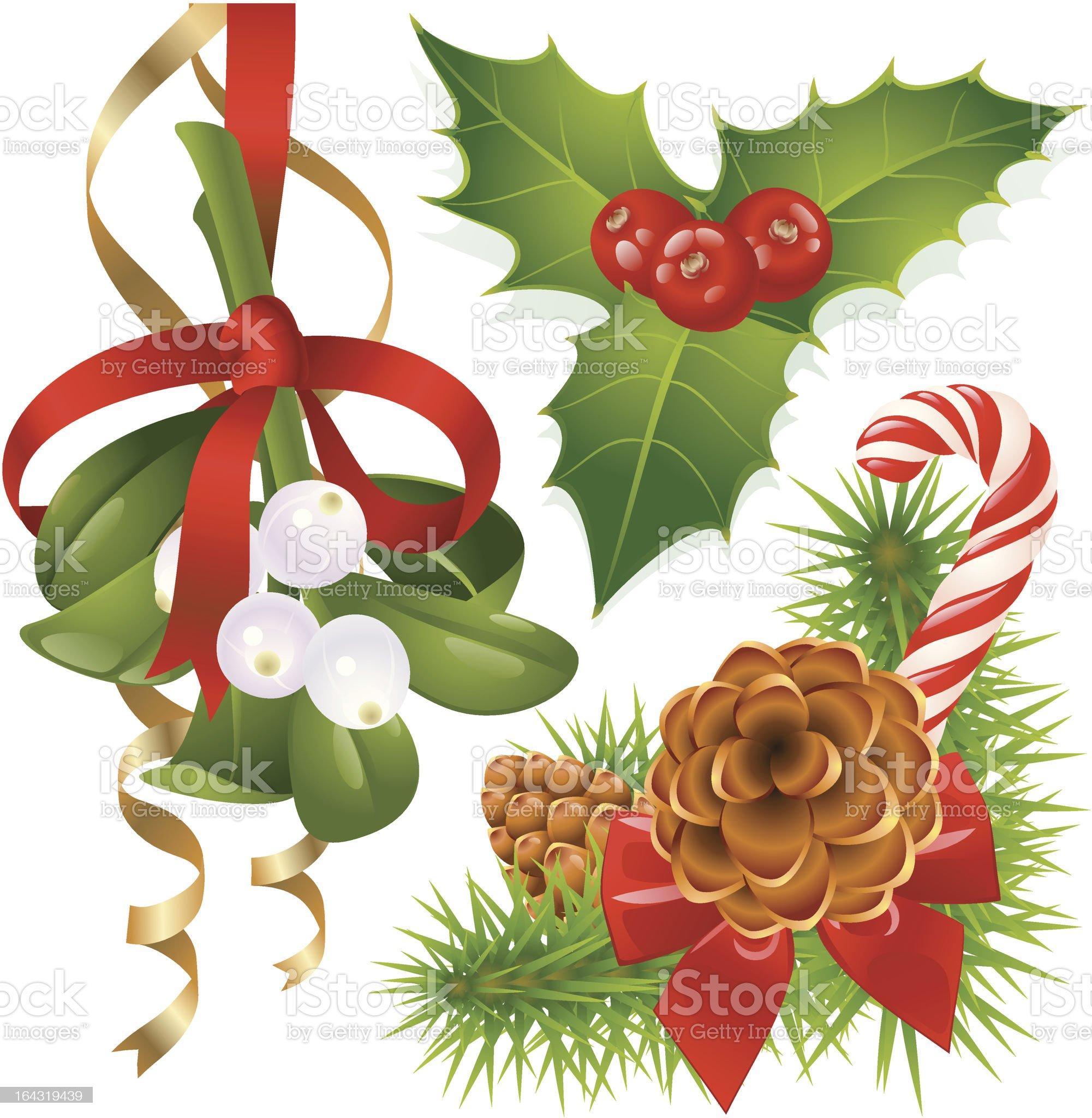 Christmas tree, mistletoe and holly royalty-free stock vector art