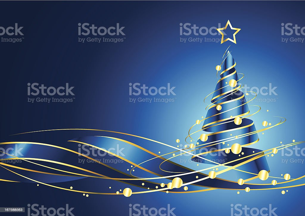 Christmas tree on blue background royalty-free stock vector art