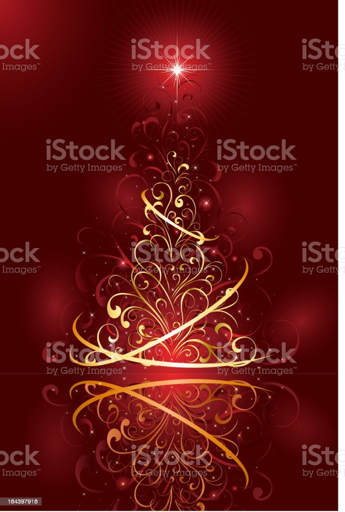 Christmas tree on red background royalty-free stock vector art