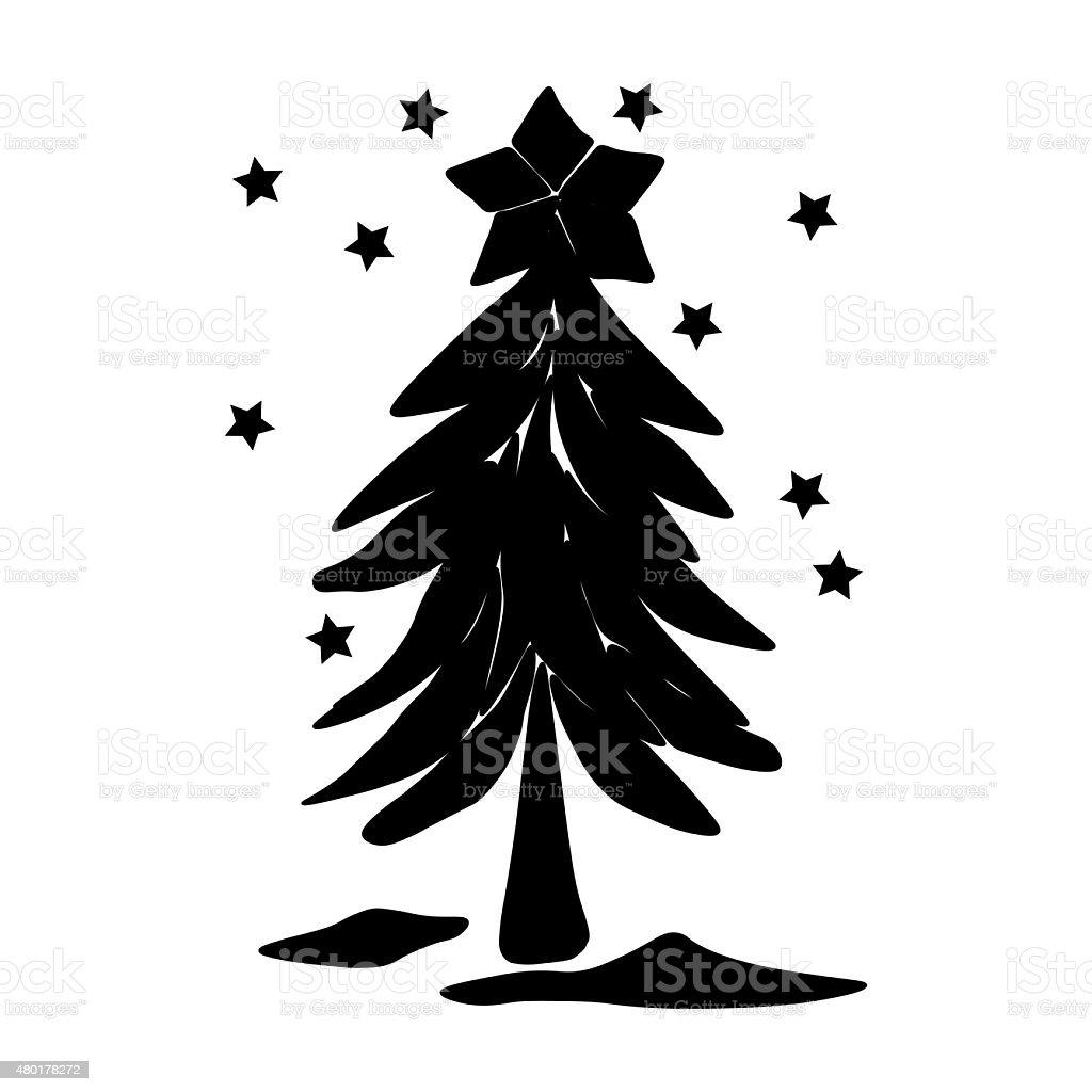 Albero di Natale illustrazione vettoriale Nero ombré illustrazione royalty-free