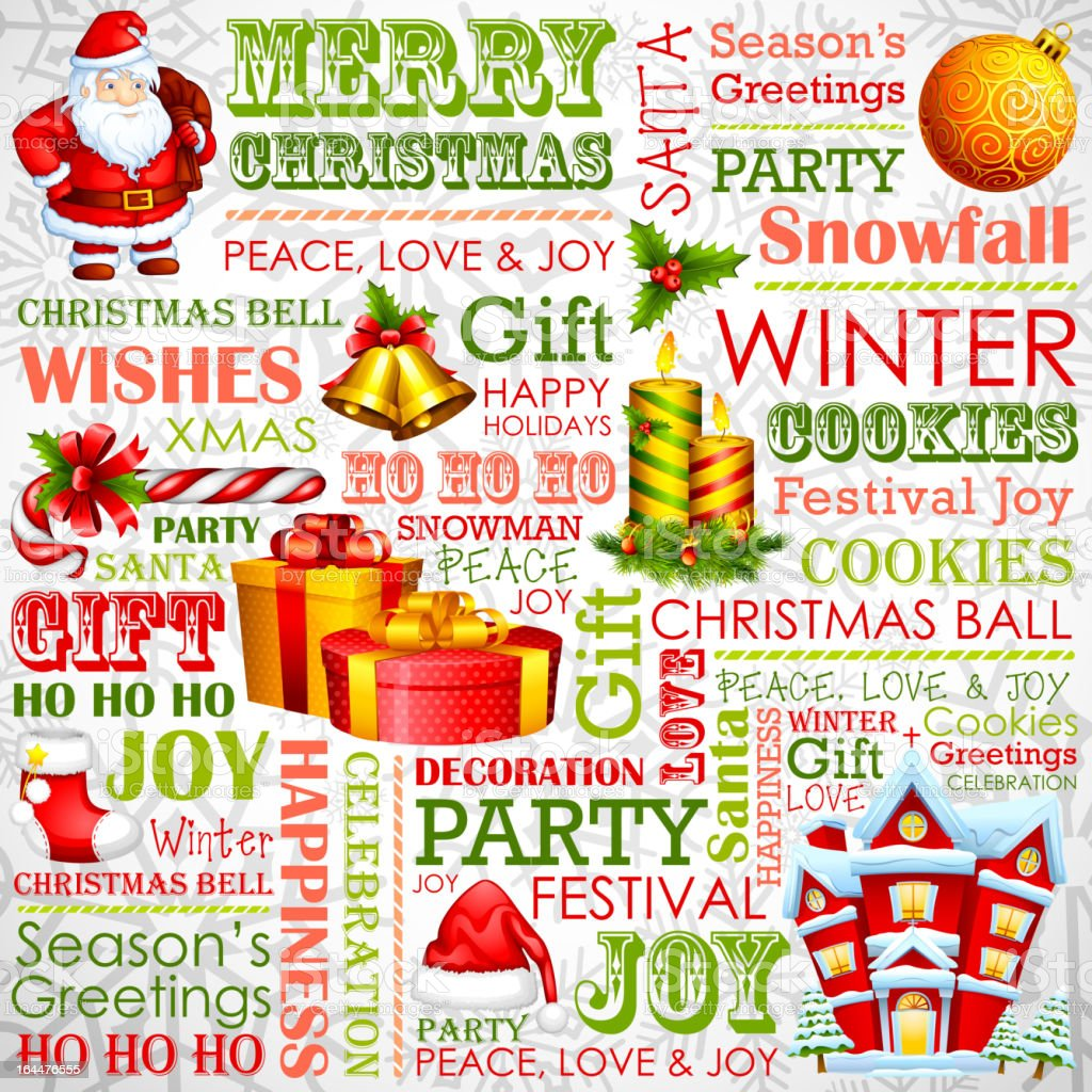 Christmas Typography Background royalty-free stock vector art