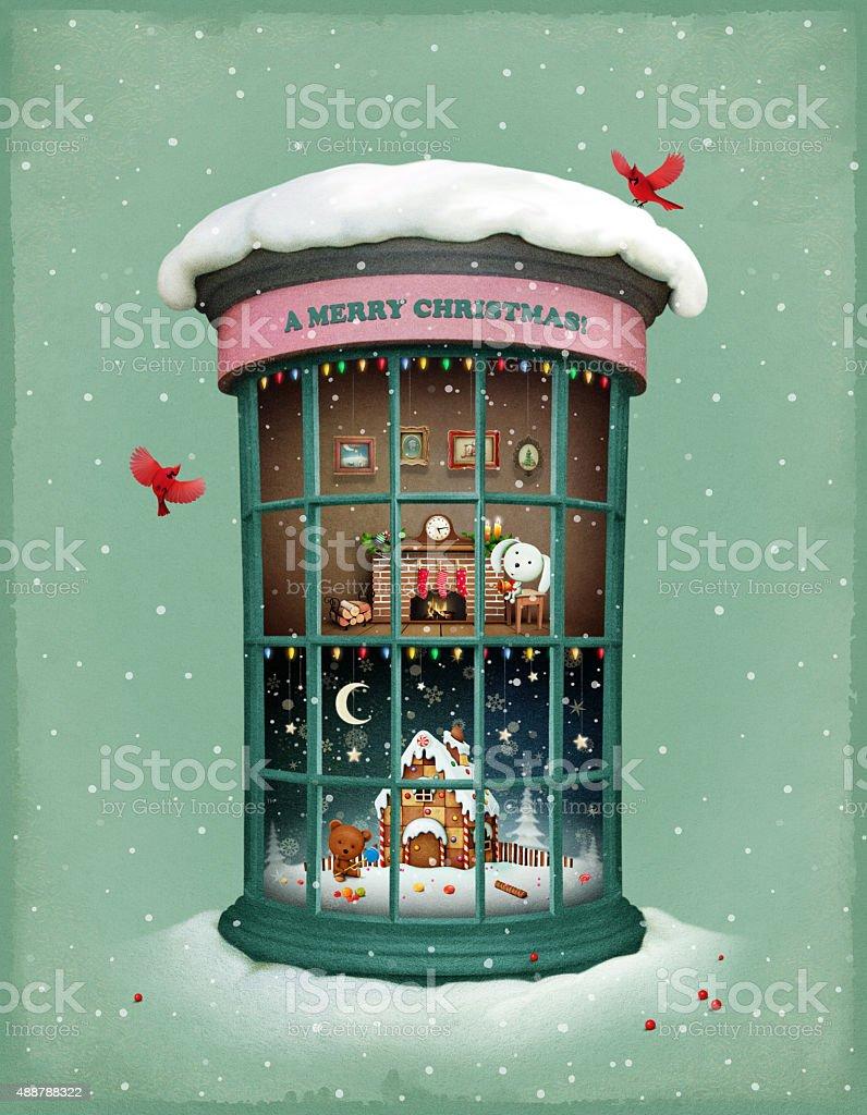 Christmas Vitrina vector art illustration