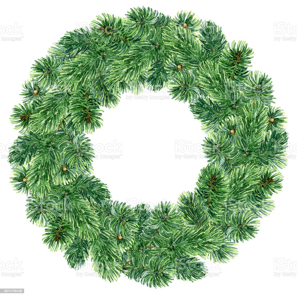 Christmas watercolor wreath vector art illustration